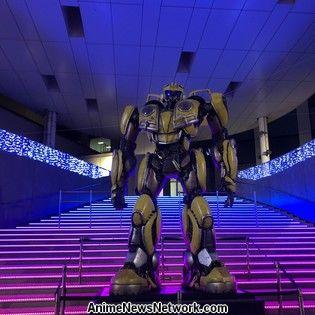 Life-Size Transformer Bumblebee Erected Near Life-Size Gundam in Odaiba