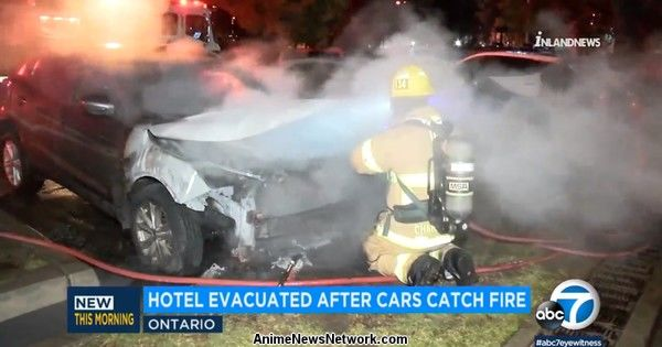 Man Arrested Over 7-Vehicle Fire at Anime Los Angeles Hotel Lot