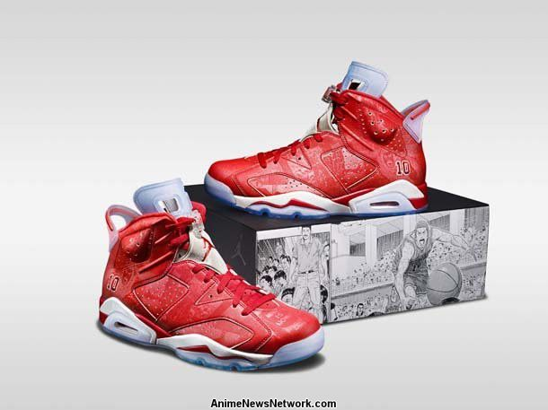 The Air Jordan VI sneakers feature Sakuragi's jersey number embroidered on  the outside heel, red uppers, and iconic scenes from the manga.